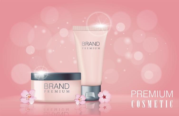 Modelo de cartaz promocional cosméticos de flor de Sakura. vetor