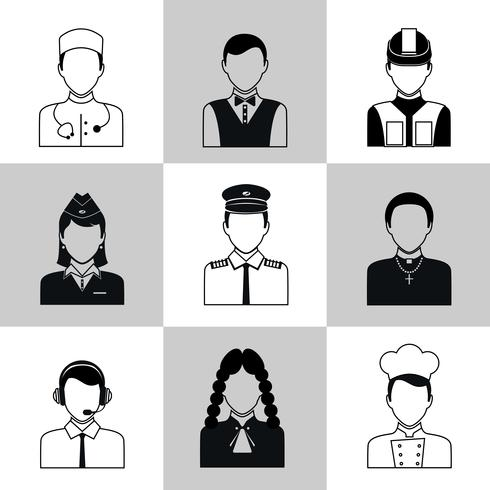 Profissões avatar ícones conjunto preto vetor