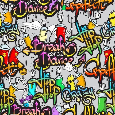 Padrão sem emenda de personagens de graffiti vetor