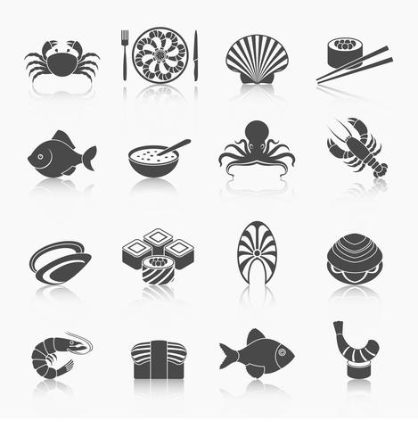 Conjunto de ícones de frutos do mar preto vetor