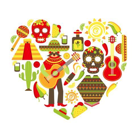 Conjunto de ícones decorativos do México vetor