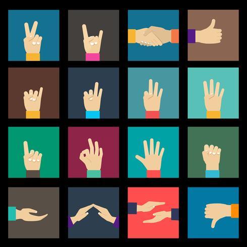 Conjunto de ícones de mãos vetor