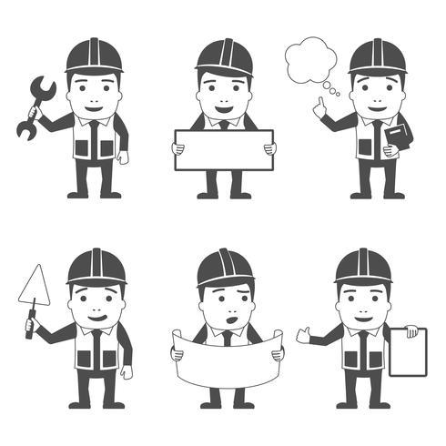 Conjunto de caracteres do construtor preto vetor