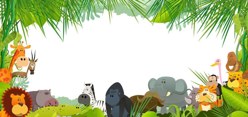 Cartão Postal Com Animais Selvagens Africanos vetor
