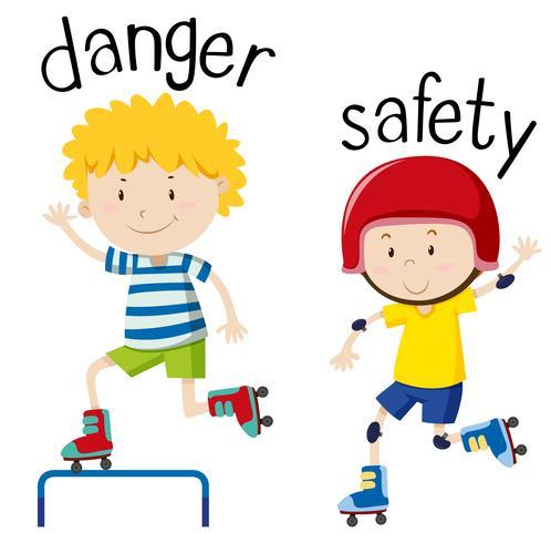 Palavra oposta para perigo e segurança vetor
