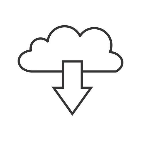 Ícone de linha preta de download de nuvem vetor