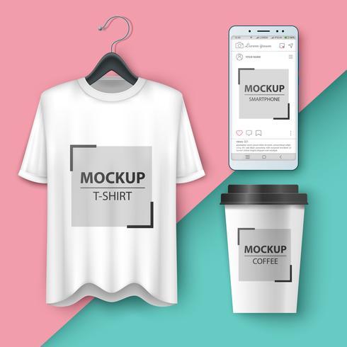 Definir maquete camiseta, smartphone, xícara, café, chá vetor
