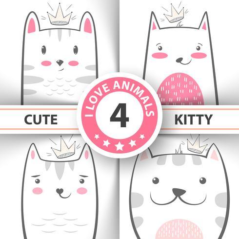Defina personagens fofinhos de gato e gatinho. vetor