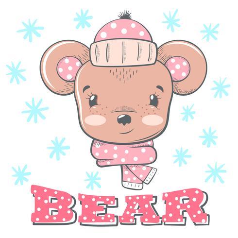 Ilustração de inverno bonito. Personagens de urso. vetor
