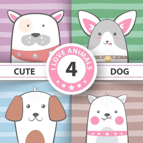 Definir personagens de desenhos animados bonitos do cão. vetor