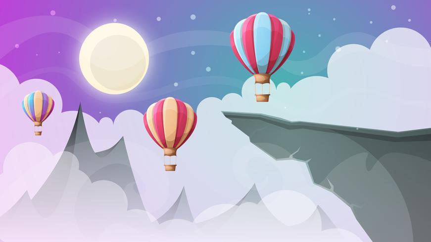 montanha da paisagem. Balão de ar. vetor