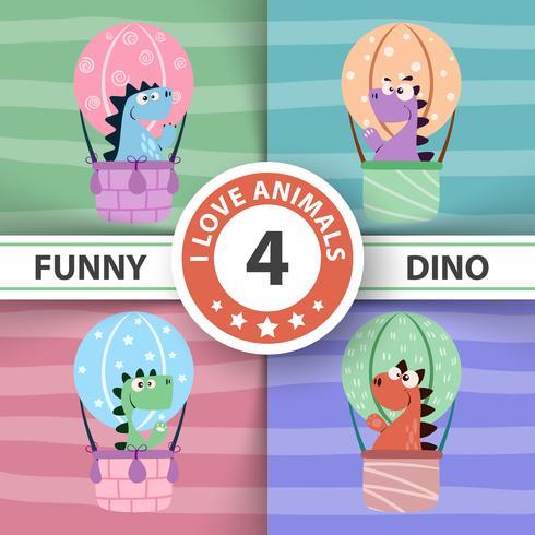 Ilustração engraçada do balão de ar de Dino. vetor