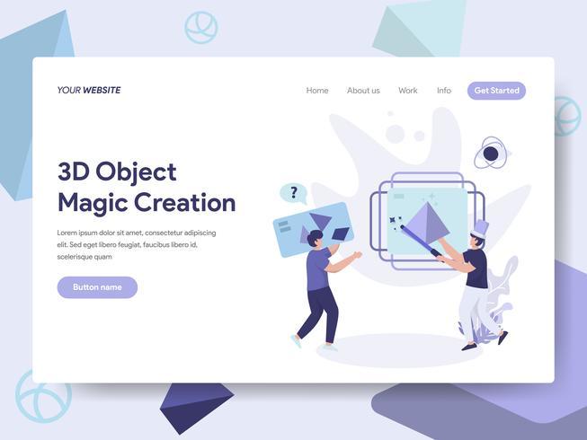Molde da página da aterrissagem do conceito mágico da ilustração da criação do objeto da impressão 3D. Conceito de design plano isométrico de design de página da web para o site e site móvel. vetor