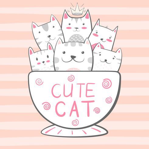 Gato, personagens de gatinho. Ilustração de café e chá. vetor
