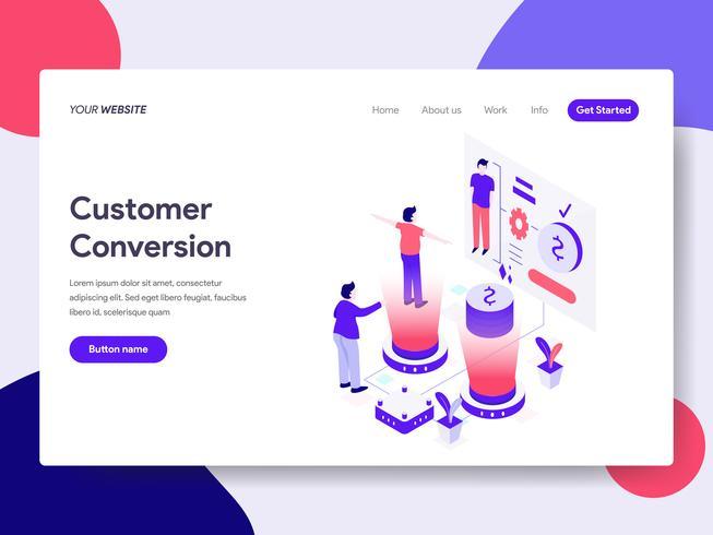 Molde da página da aterrissagem do conceito da ilustração da conversão do cliente. Conceito de design plano isométrico de design de página da web para o site e site móvel. vetor