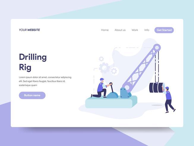 Molde da página da aterrissagem de Drilling Rig Illustration Concept. Conceito de design plano isométrico de design de página da web para o site e site móvel. vetor