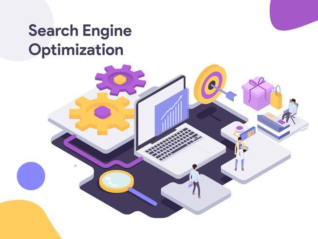 Ilustração isométrica da otimização do Search Engine. Estilo moderno design plano para site e site móvel. Ilustração vetorial vetor