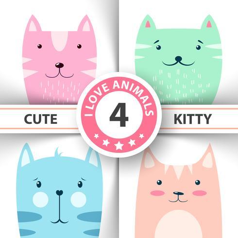 Gatinho bonito, engraçado, personagens de gato. vetor