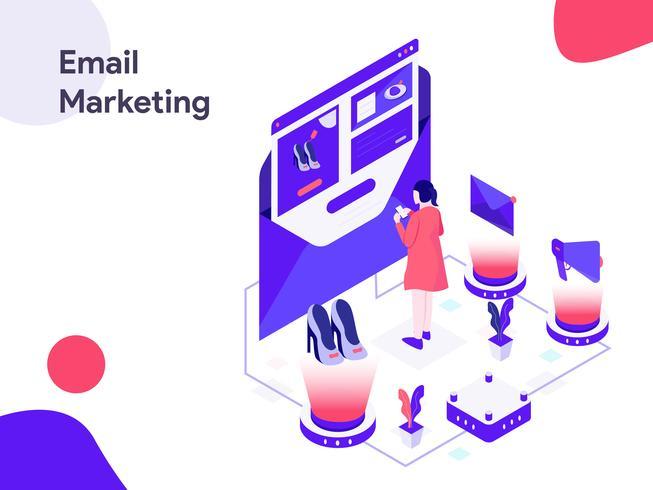 E-mail marketing ilustração isométrica. Estilo moderno design plano para site e site móvel. Ilustração vetorial vetor