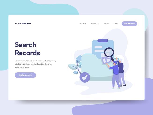 O molde da página da aterrissagem da busca grava o conceito da ilustração. Conceito de design plano isométrico de design de página da web para o site e site móvel. vetor