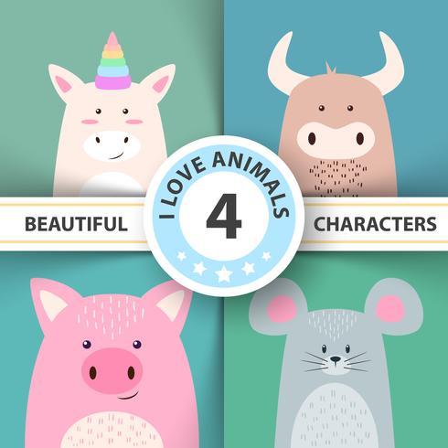 Personagem de animais dos desenhos animados unicórnio, touro, porco, rato vetor