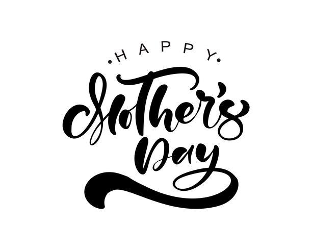 Feliz dia das mães, lettering texto de caligrafia preta vector. vetor