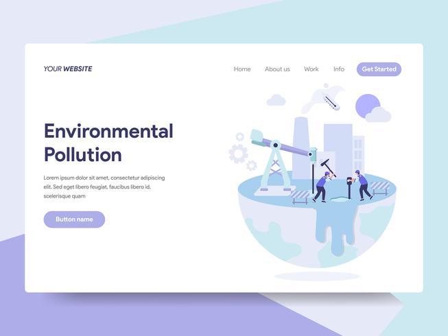 Molde da página da aterrissagem do conceito da ilustração da poluição ambiental. Conceito de design plano isométrico de design de página da web para o site e site móvel. vetor