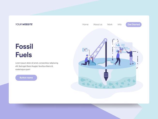 Molde da página da aterrissagem do conceito da ilustração do combustível fóssil. Conceito de design plano isométrico de design de página da web para o site e site móvel. vetor
