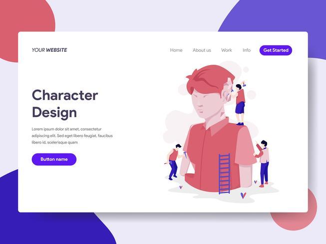 Molde da página da aterrissagem do conceito da ilustração do processo de design de caráter. Conceito de design plano isométrico de design de página da web para o site e site móvel. vetor