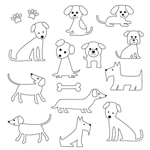 Cães bonitos Selos Digitais vetor
