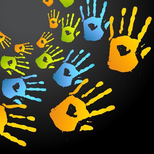 mãos coloridas de vetor