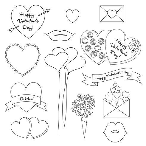 Dia dos Namorados Digital Stamp Clipart vetor