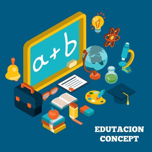 Conceito isométrico de educação vetor