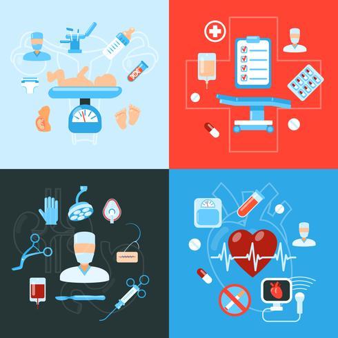 Conceito de design de ícones médicos de cirurgia vetor