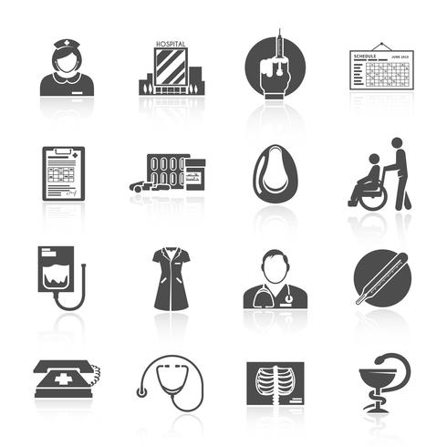 Conjunto de ícones de enfermeira vetor