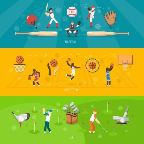 Conjunto Horizontal de Banner de esportes vetor