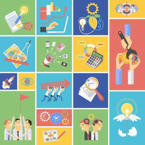 Conjunto de ícones plana de conceito de trabalho em equipe negócios vetor