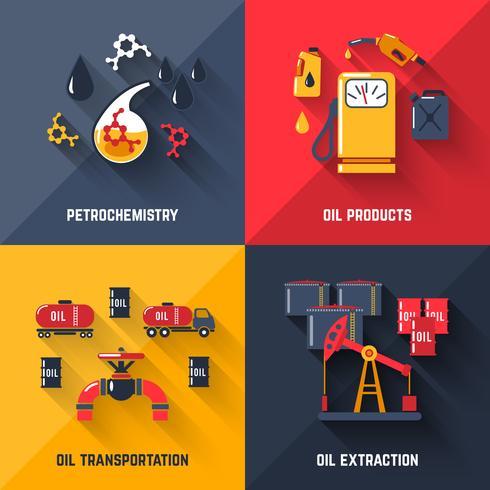 Conjunto de conceito de Design de petróleo vetor