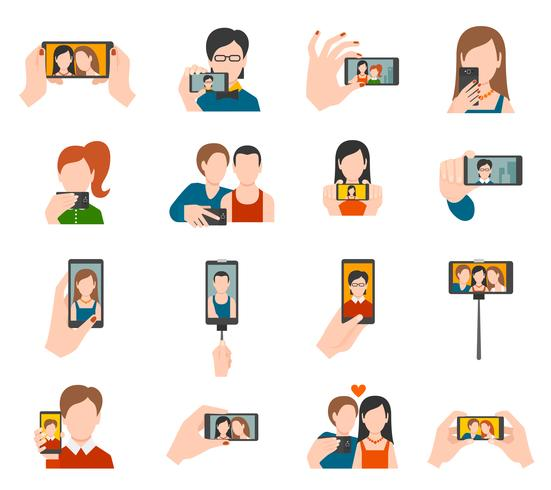 Selfie ícones planas vetor
