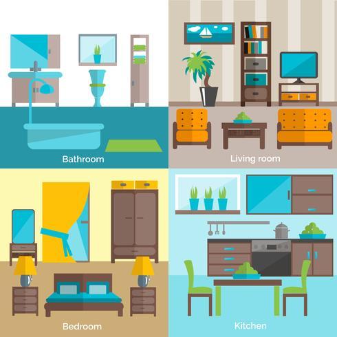 Quartos interiores que fornecem 4 ícones lisos vetor