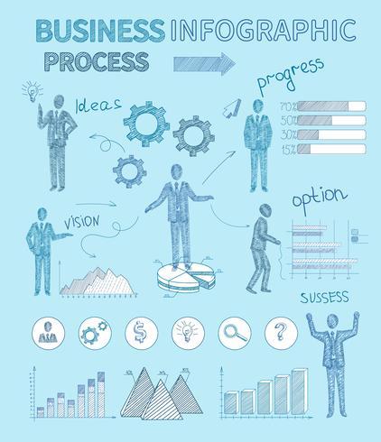 Esboço de pessoas de negócios infográficos vetor