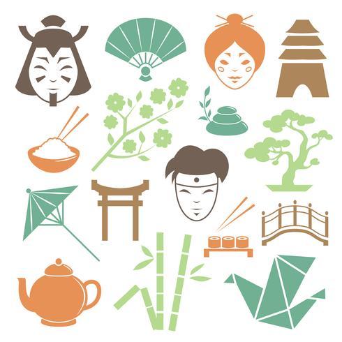 Coleção de elementos de design de cultura japonesa vetor