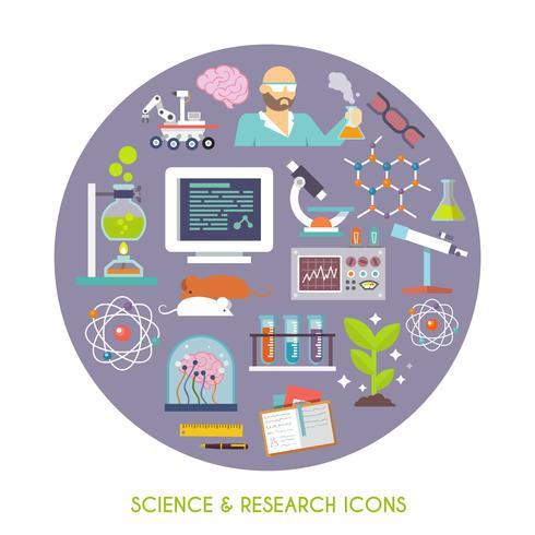 Ciência e pesquisa ícone plana vetor