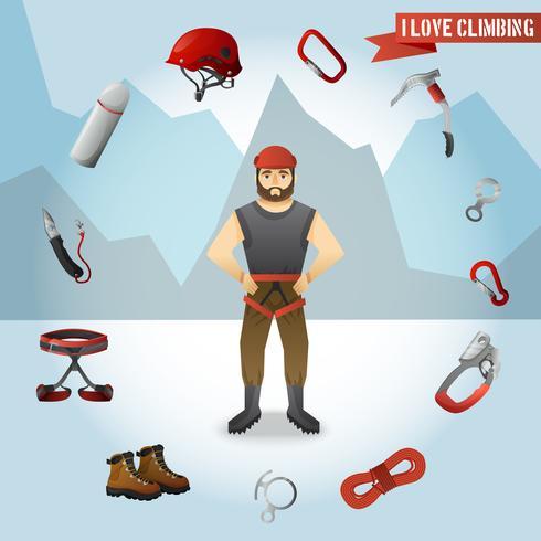 Cartaz de composição de ícones de personagem de alpinista de montanha vetor