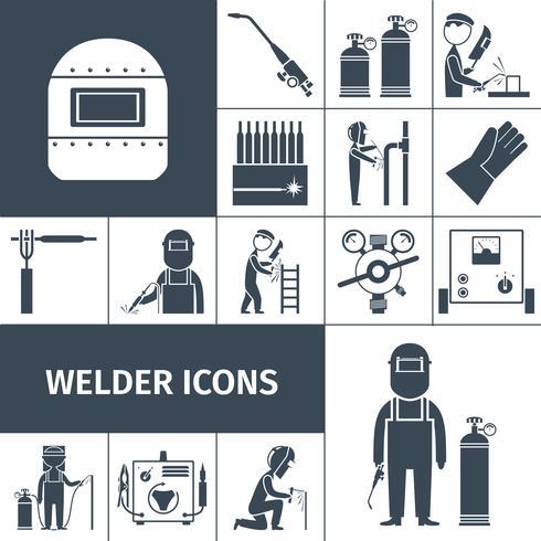 Conjunto de ícones de soldador preto vetor