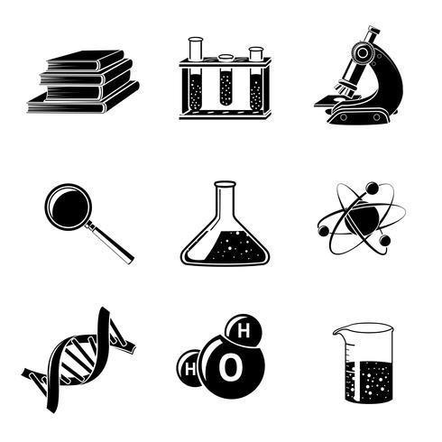 Conjunto de ícones pretos de ciência vetor
