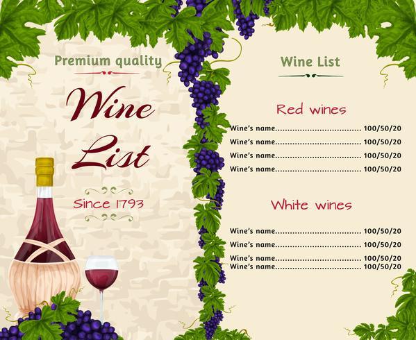 Modelo de lista de vinhos vetor