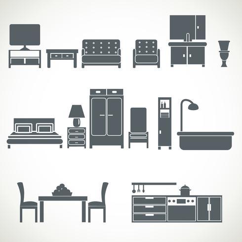 Conjunto de blackicons de design de móveis para casa vetor