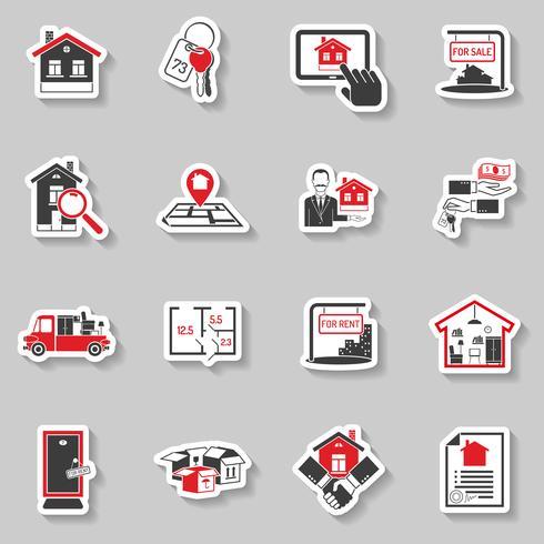 Conjunto de adesivos imobiliários vetor