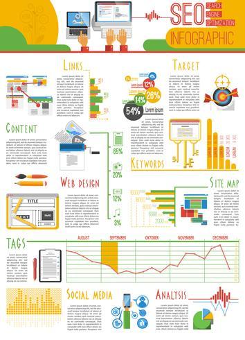 Cartaz de relatório de infografia de Seo vetor